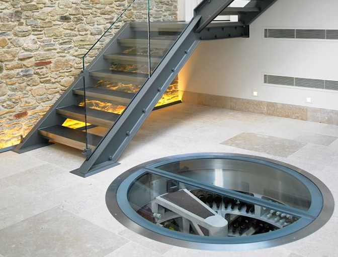 Permalink to Spiral Staircase Wine Cellar