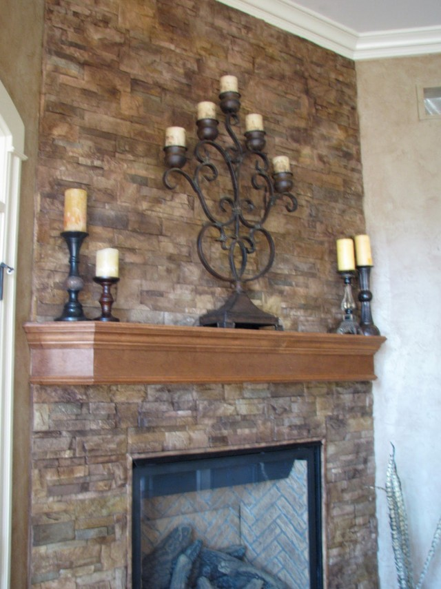 Stone Over Brick Fireplace Before And After