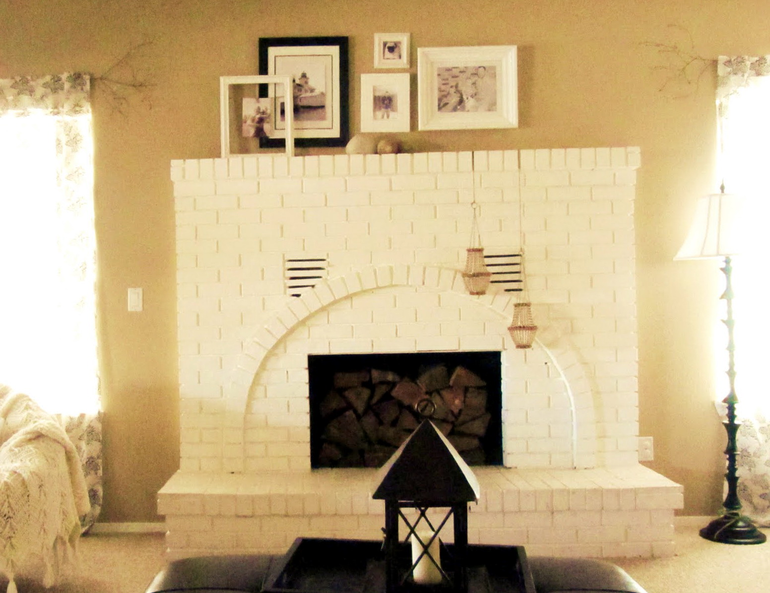 White Brick Fireplace With Black Mantle | Home Design Ideas