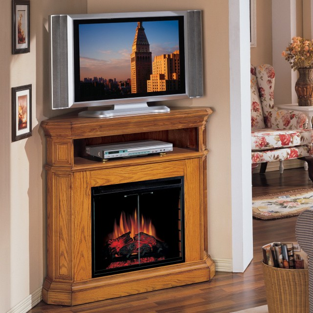 Black Corner Electric Fireplace Tv Stand