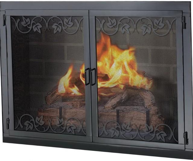 Black Fireplace Screen Glass Doors