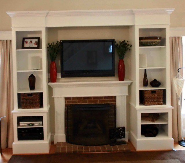 Diy built in entertainment center with fireplace home for House plans with fireplace in center of house