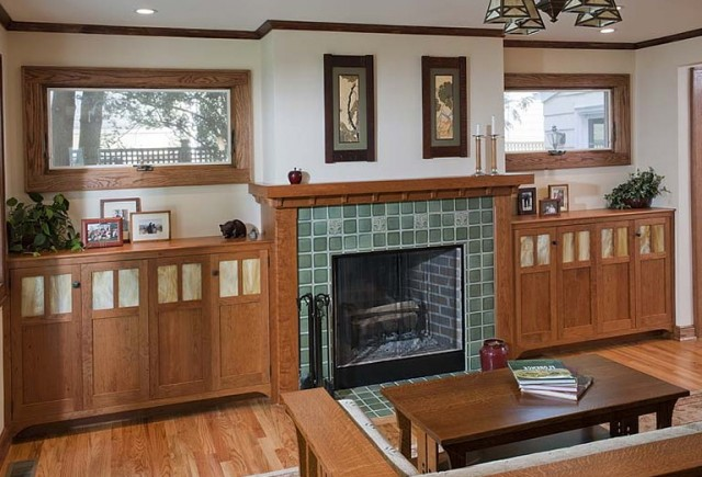 Built Ins Around Fireplace With Windows