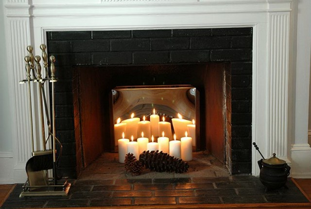 Birch Fireplace Logs With Candles Home Design Ideas