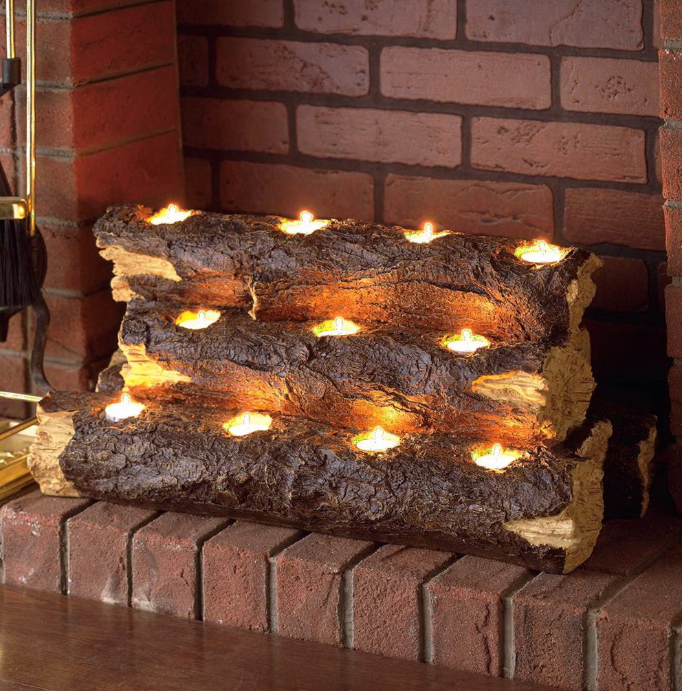 Log Candle Holder For Fireplace Home Design Ideas