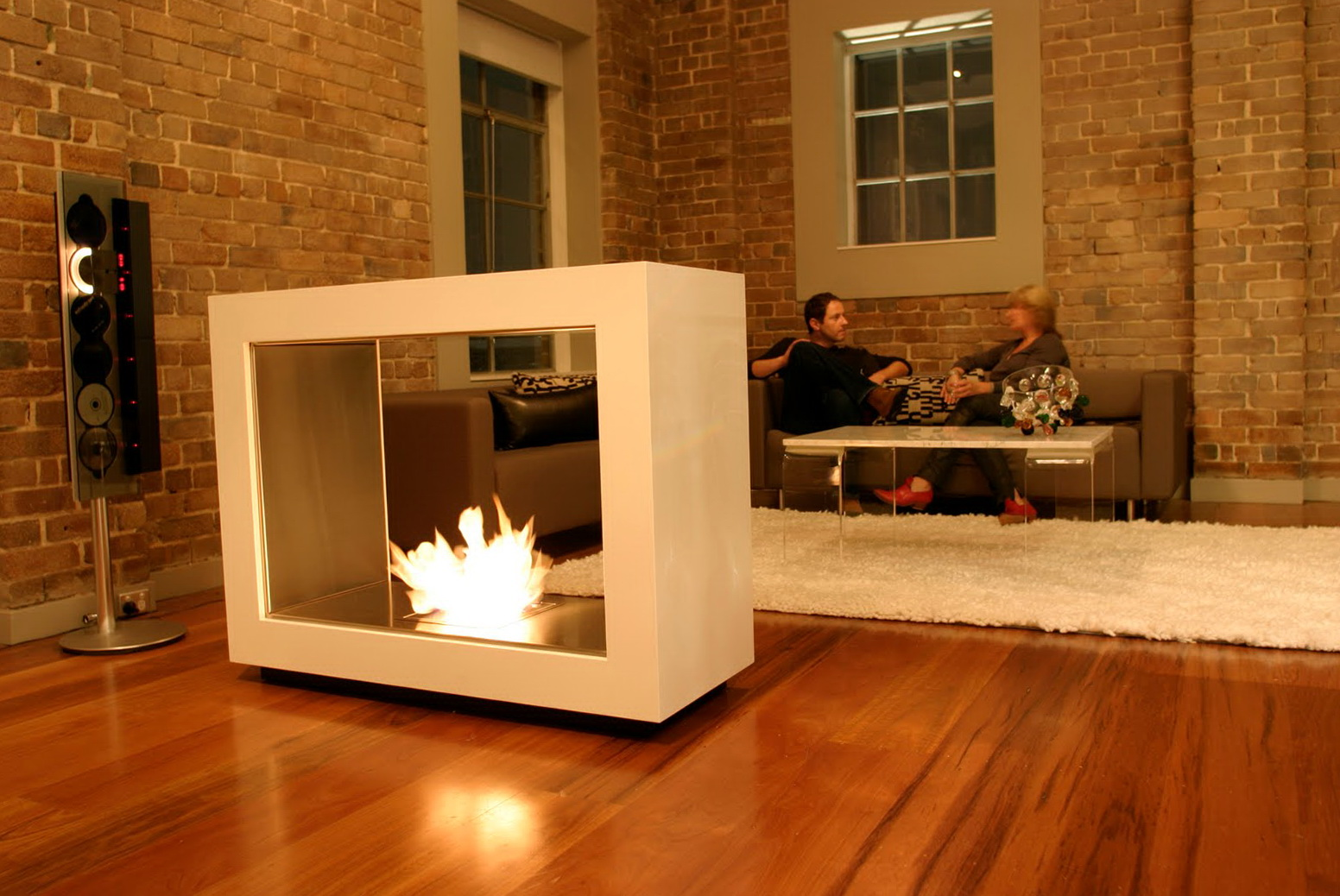 Modern Freestanding Gas Fireplace Home Design Ideas