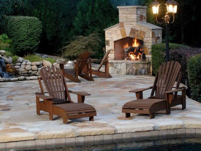 outdoor fireplace on wood deck home design ideas