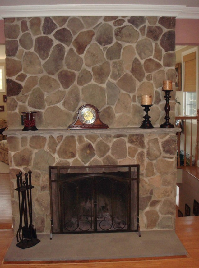 Refacing A Fireplace With Stone Veneer