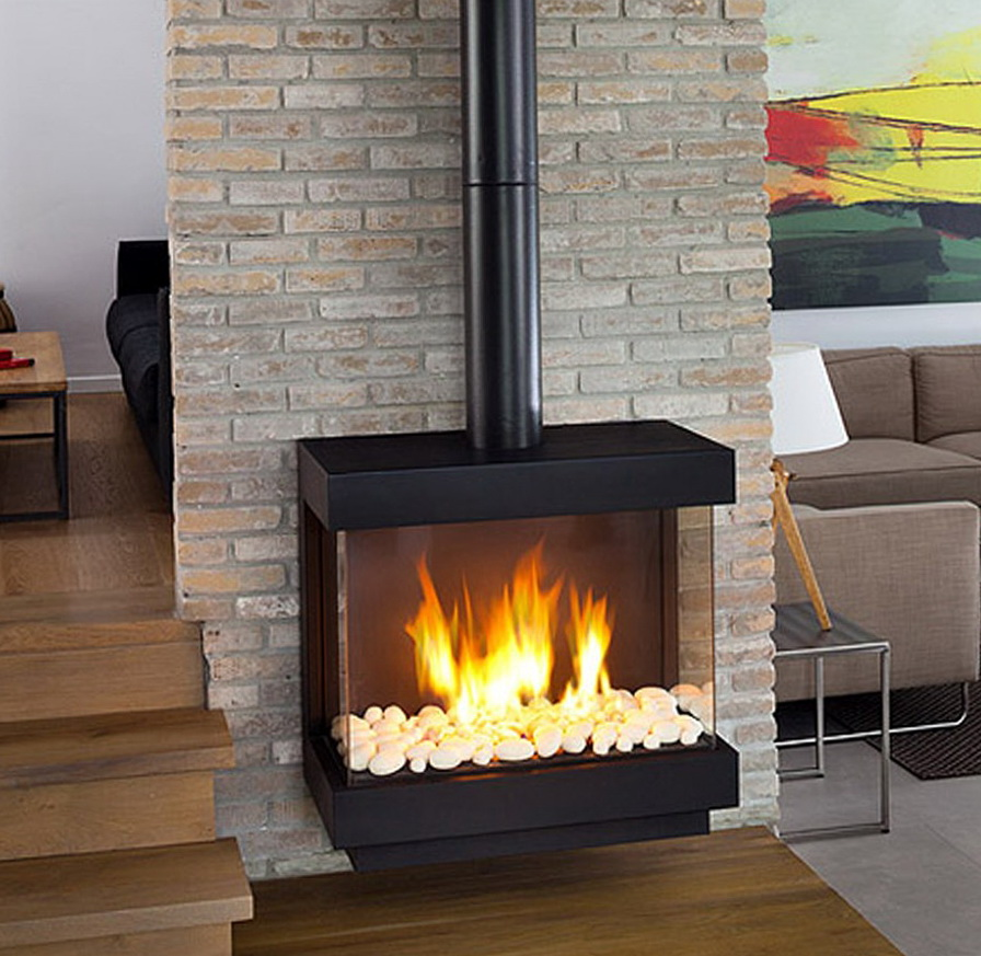 Stand Alone Gas Fireplace | Heather Bates Design