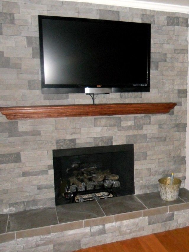 Corner stone gas fireplace home design ideas for Corner fireplace stone