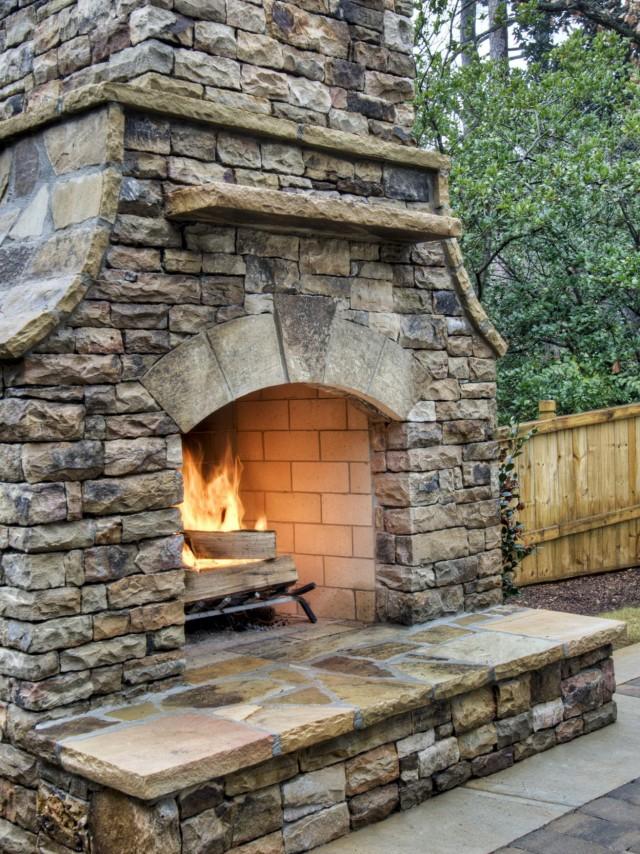 Concrete Block Outdoor Fireplace Plans Home Design Ideas