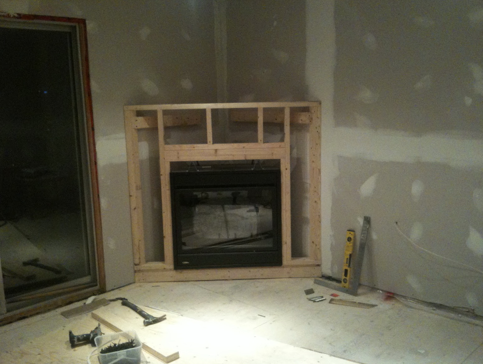 Diy corner electric fireplace home design ideas for Building an indoor fireplace