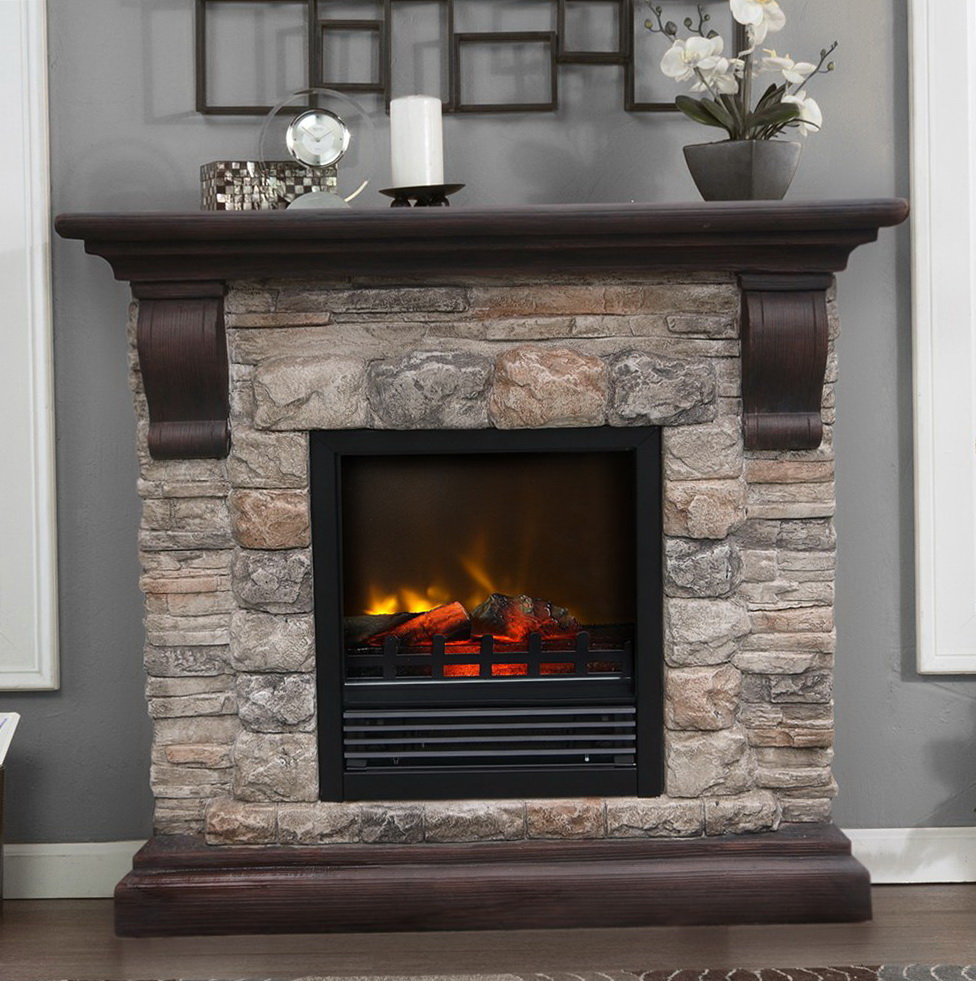 package dark stone in faux pine mantel electric brushed sale fireplace with on surround