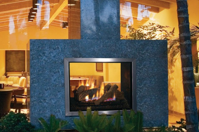 See Through Gas Fireplace Indoor Outdoor Home Design Ideas