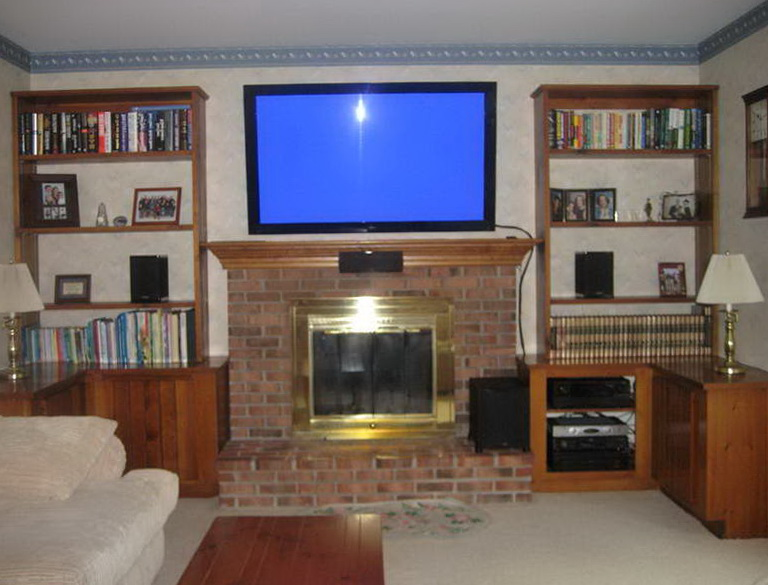 hide brick tv how to mount over mounting fireplace hang above wires diy
