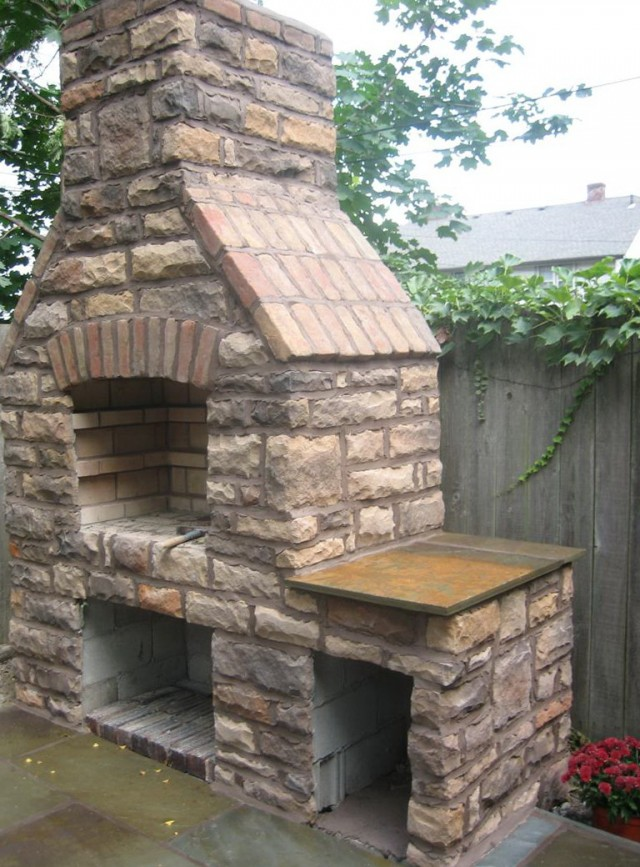Outdoor Stone Fireplace Grill