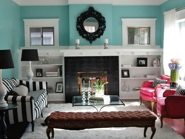 Painted Bookshelves Around Fireplace