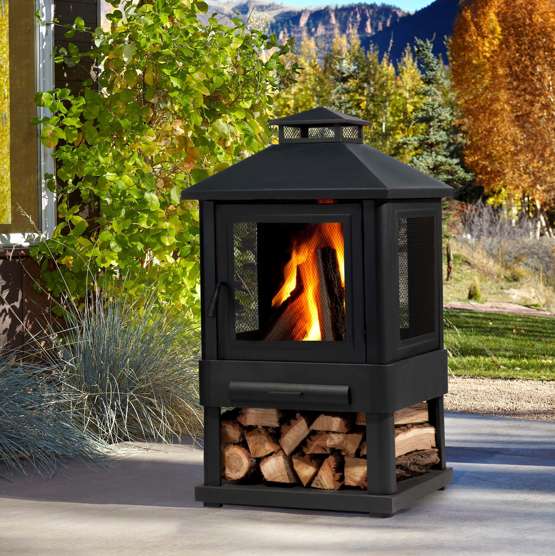 Portable Outdoor Fireplaces Wood Burning Bond Wood Burning Outdoor Fireplace At Hayneedle