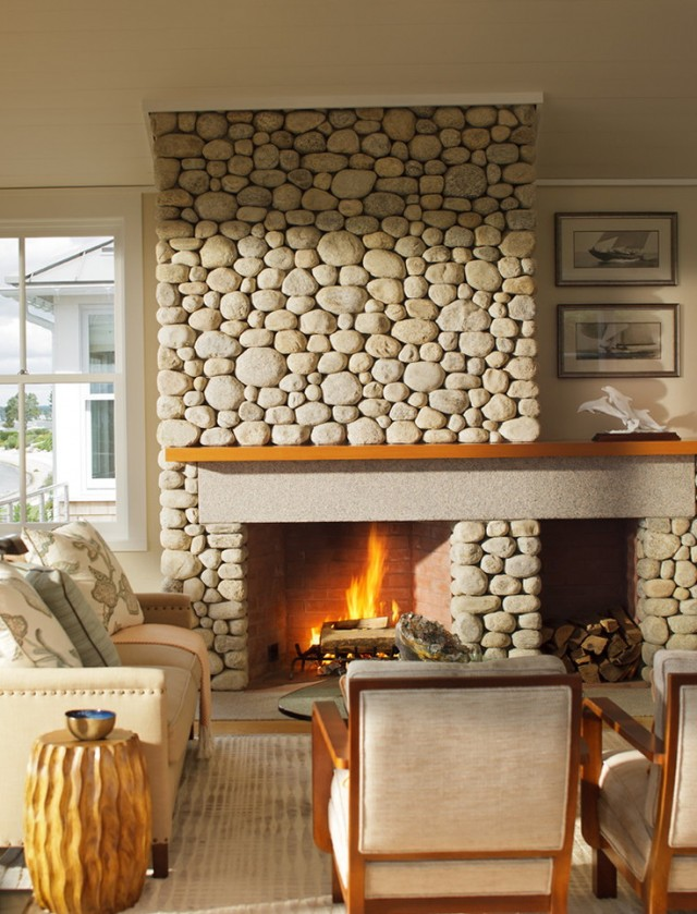 River Rock Fireplace Makeover | Home Design Ideas