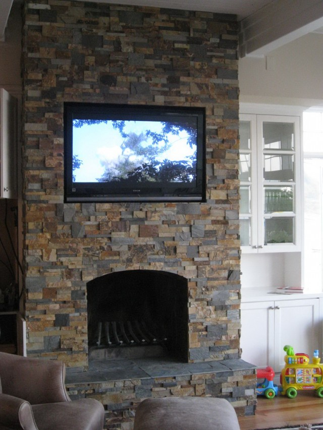 Stacked Stone Fireplace With Tv Above | Home Design Ideas