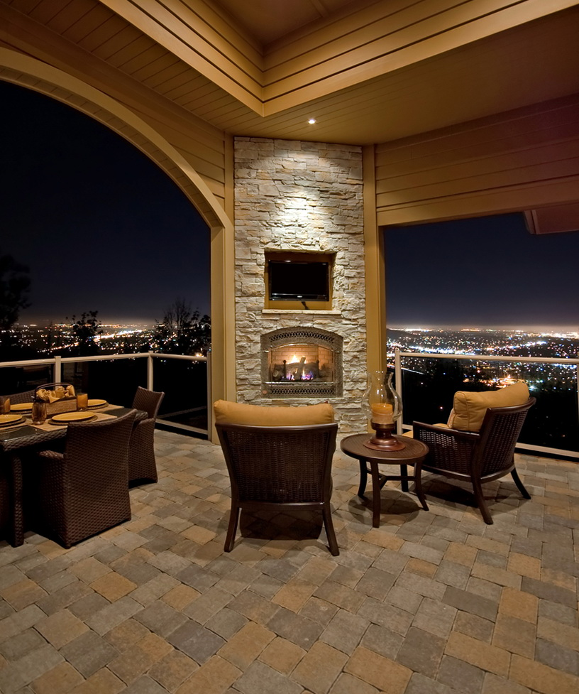 Stone Corner Fireplace With Tv Above Home Design Ideas