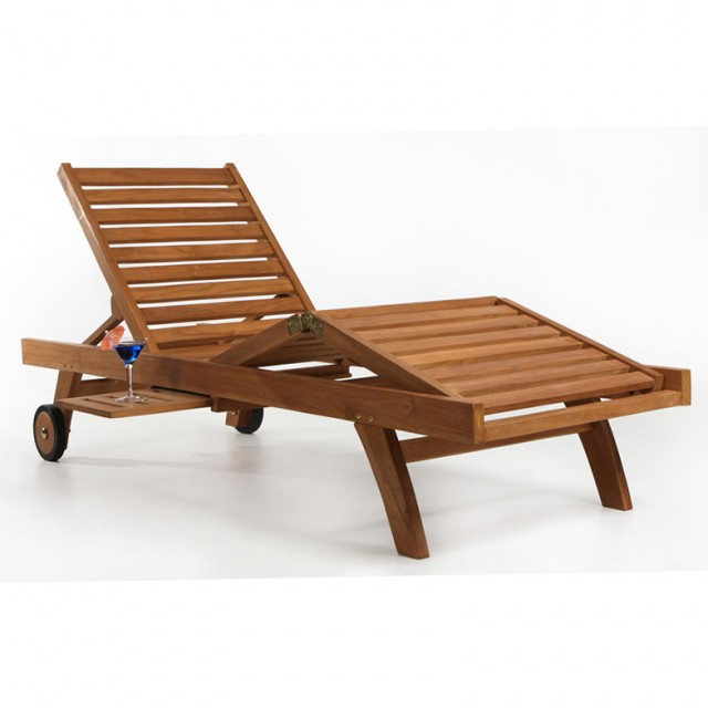 Teak Chaise Lounge With Wheels