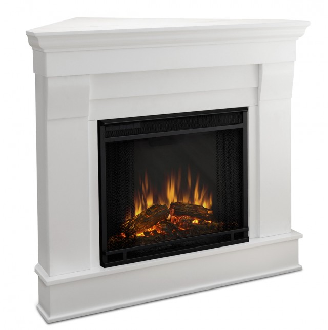 White Corner Electric Fireplace Heater