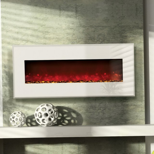 White Electric Wall Mount Fireplace