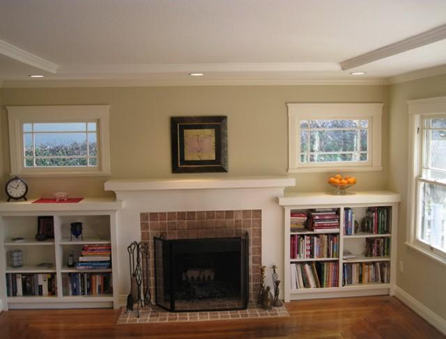 Built In Shelves Around Brick Fireplace | Home Design Ideas
