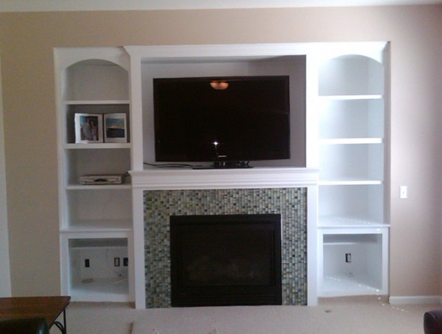 Built In Shelves Around Fireplace Plans