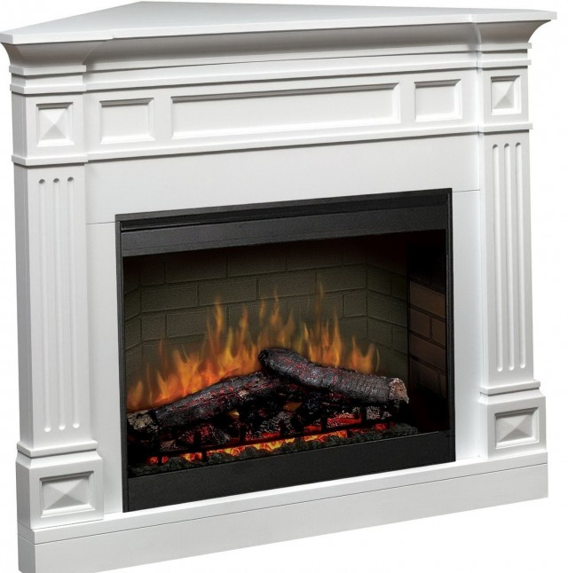 Corner Electric Fireplace White