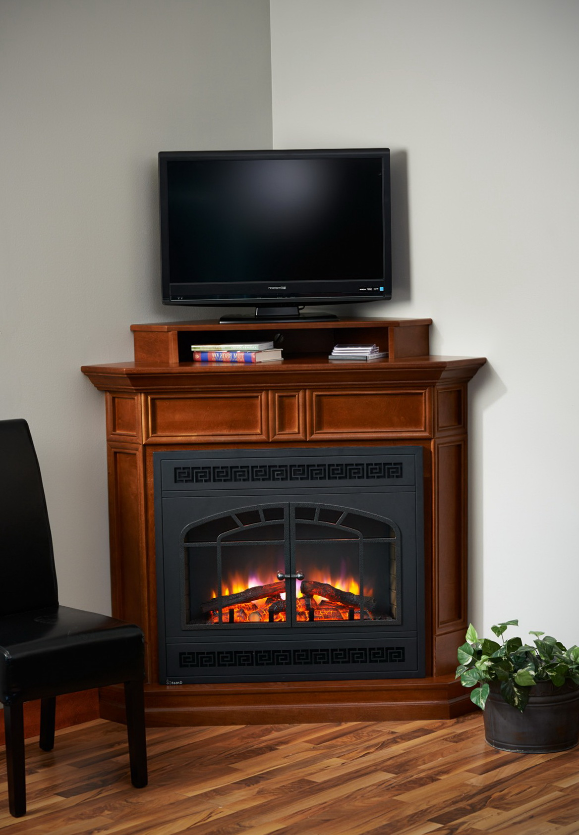corner fireplace tv stand combo home design ideas. Black Bedroom Furniture Sets. Home Design Ideas