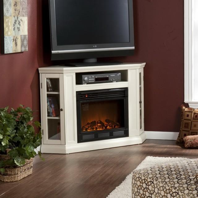 Corner Fireplace Tv Stand White