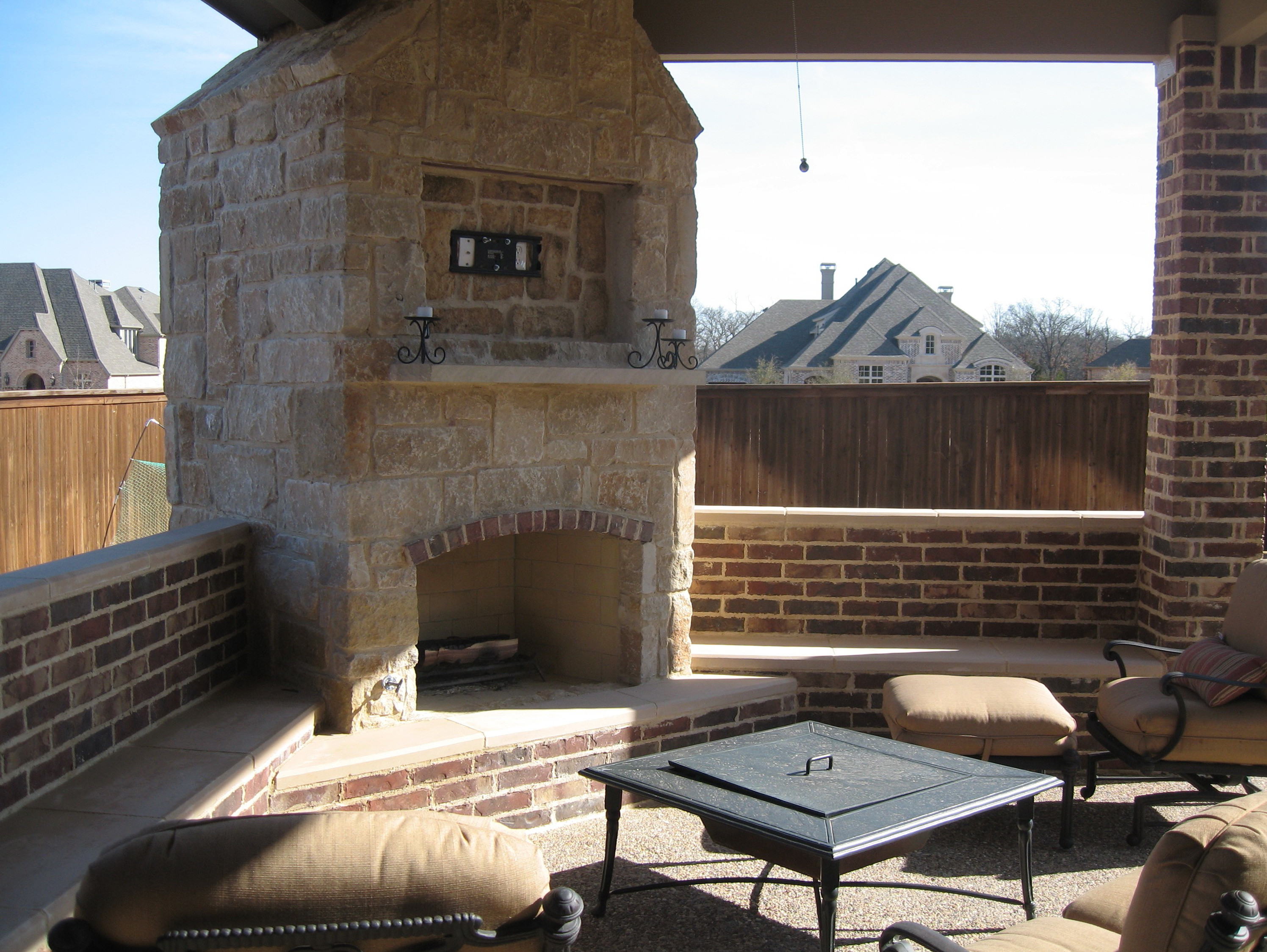 covered patio fireplace ideas