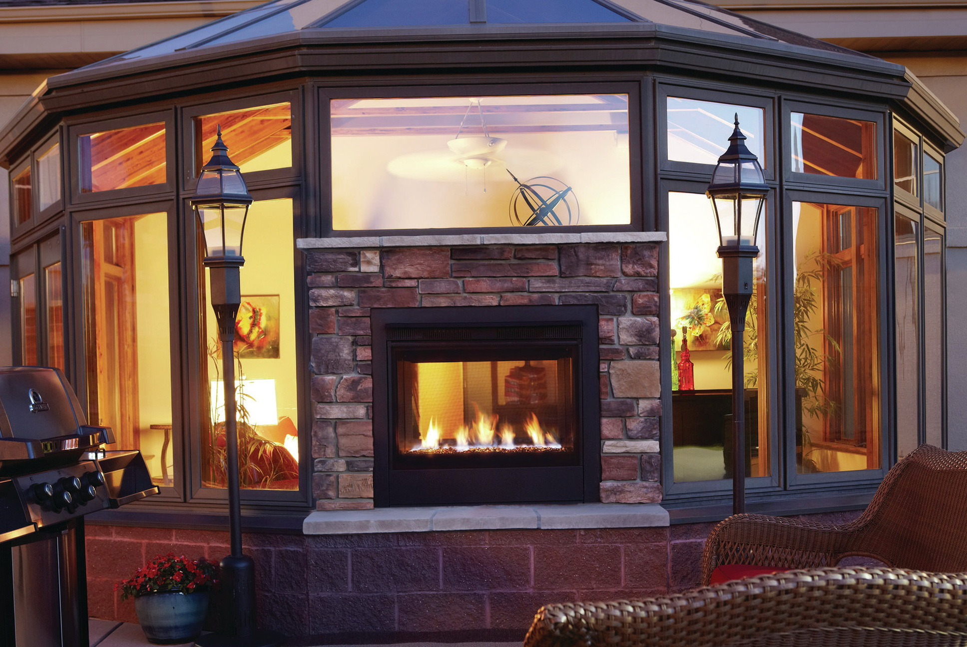 Double Sided Fireplace Indoor Outdoor Home Design Ideas