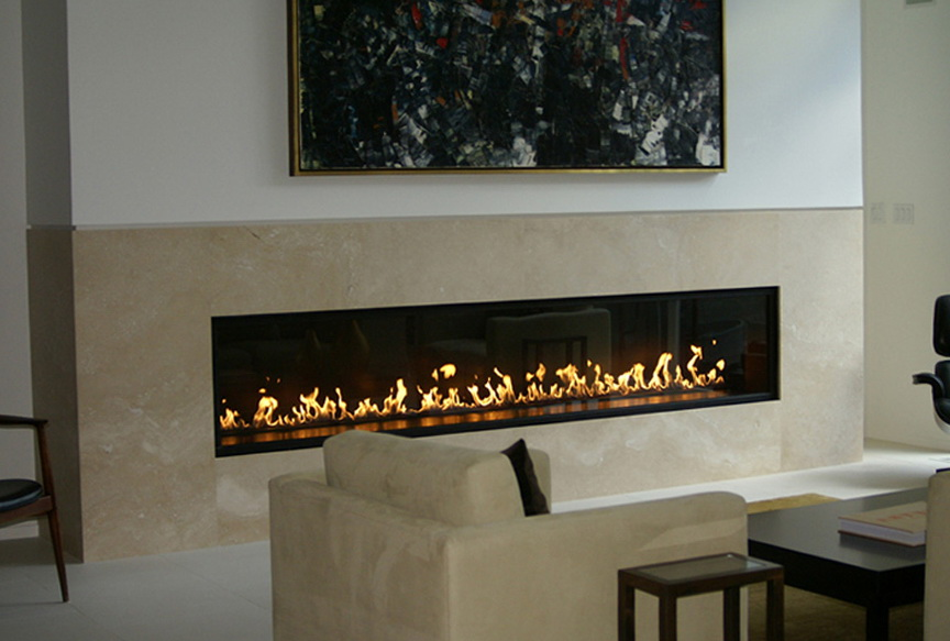 Linear Gas Fireplace For Home Design Ideas