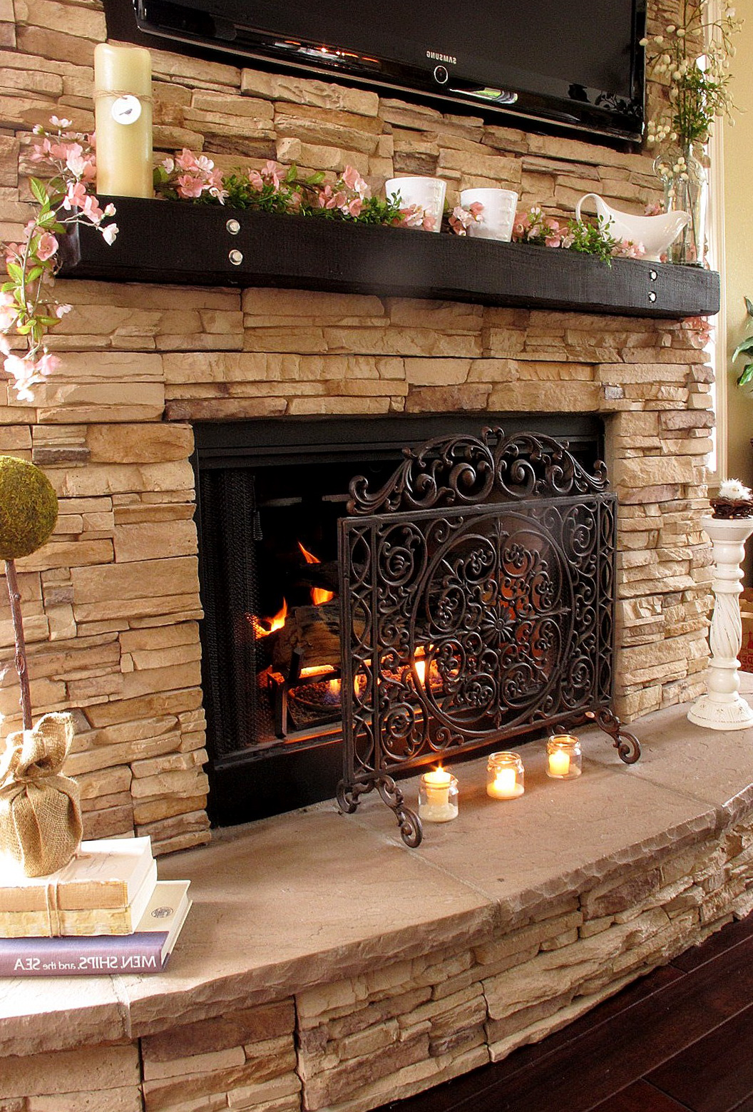Stacked Stone Fireplaces With Mantle Home Design Ideas