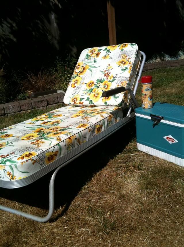Vintage Aluminum Chaise Lounge