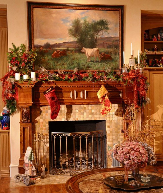 Christmas Decorations Fireplace Mantels Ideas