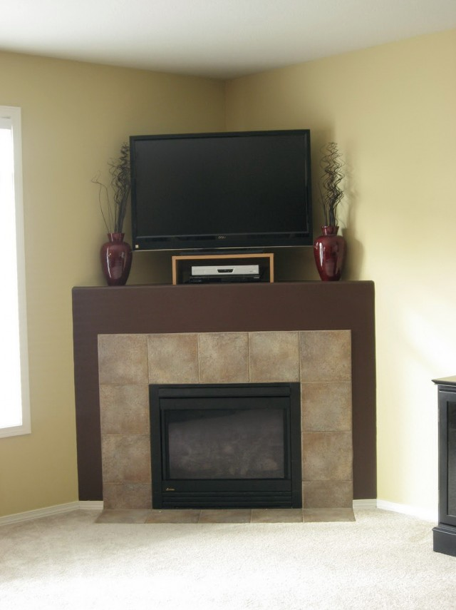 Corner Gas Fireplaces With Tv Above