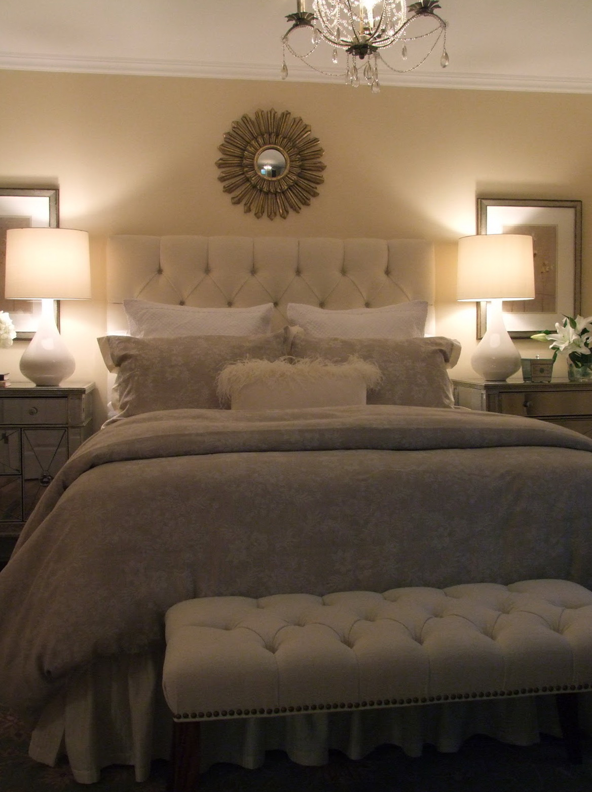 Cream Colored Tufted Headboard Home Design Ideas