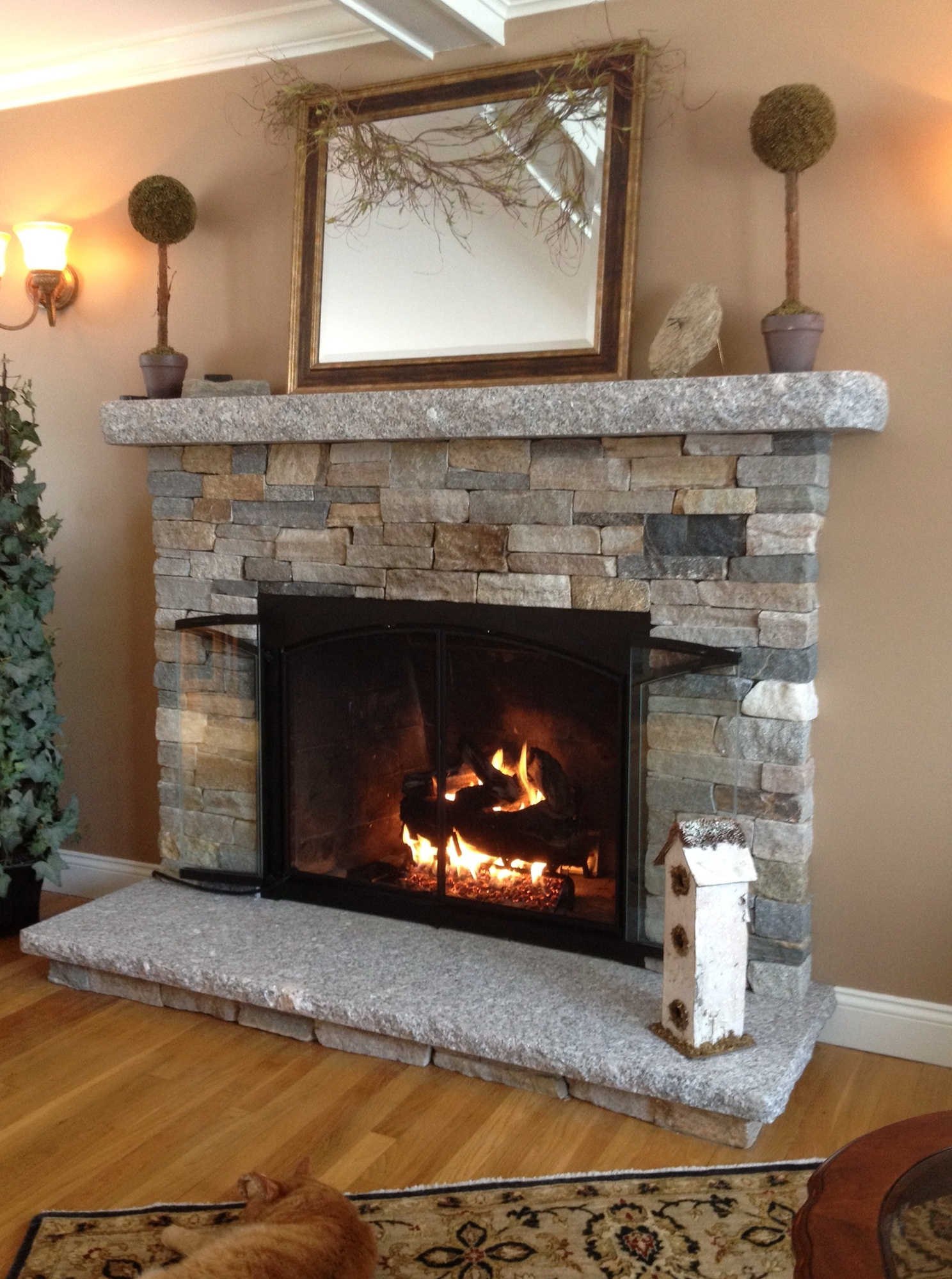 Resurface Fireplace With Stone