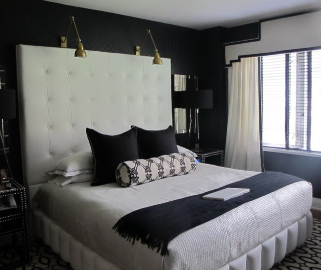 headboard reading lamps bed home design ideas. Black Bedroom Furniture Sets. Home Design Ideas