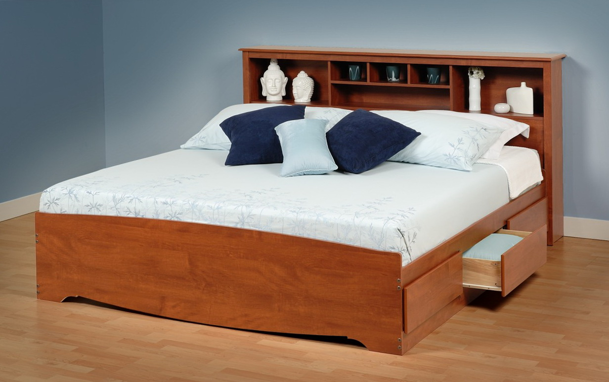 king size bed frame with headboard storage - King Size Bed Frames With Storage