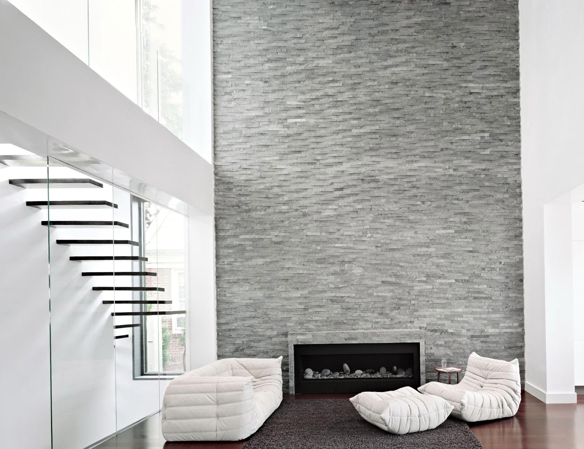 Modern White Stone Fireplace