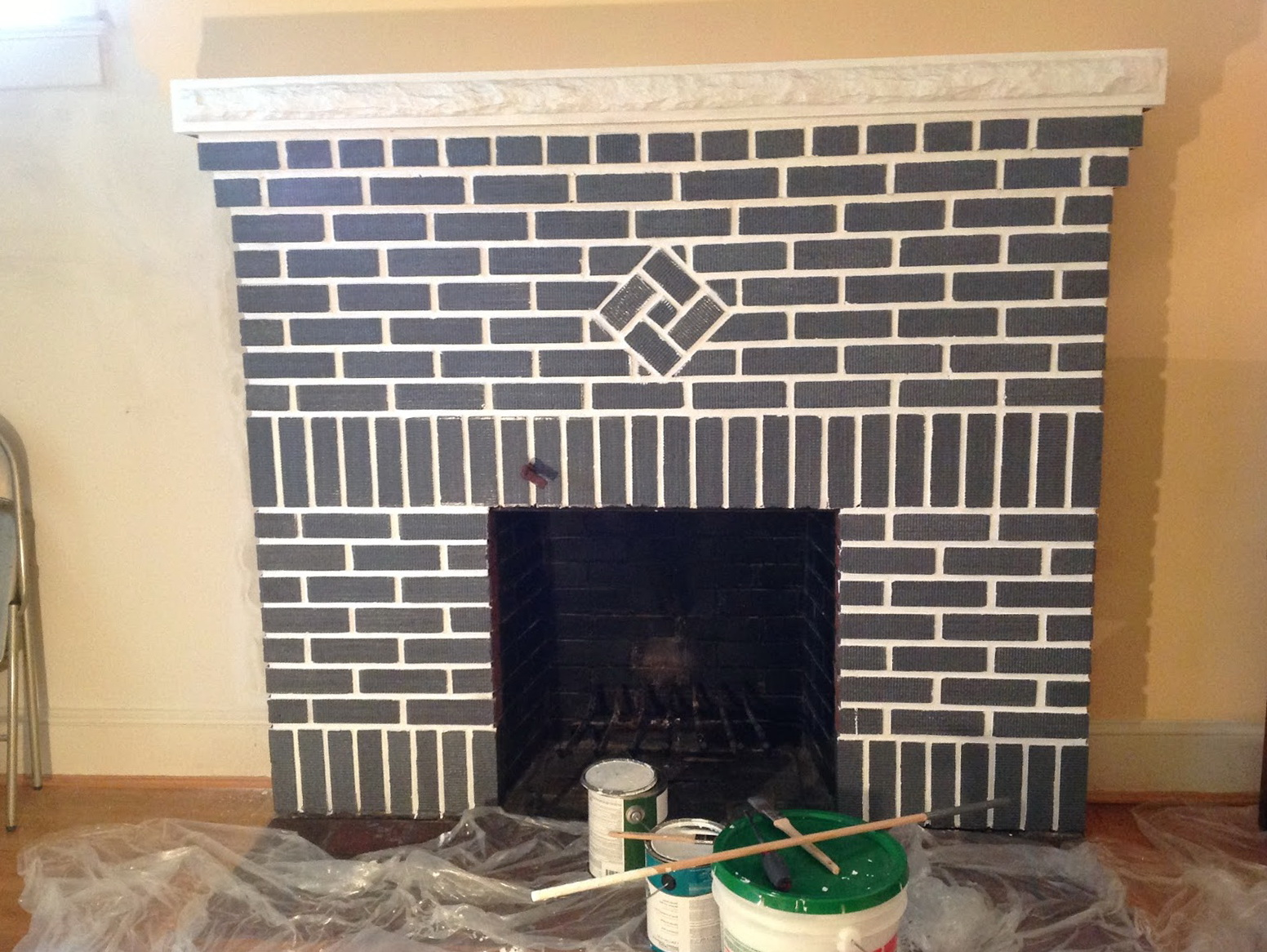 Finest Painted Red Brick Fireplace Home Design Ideas Bd72