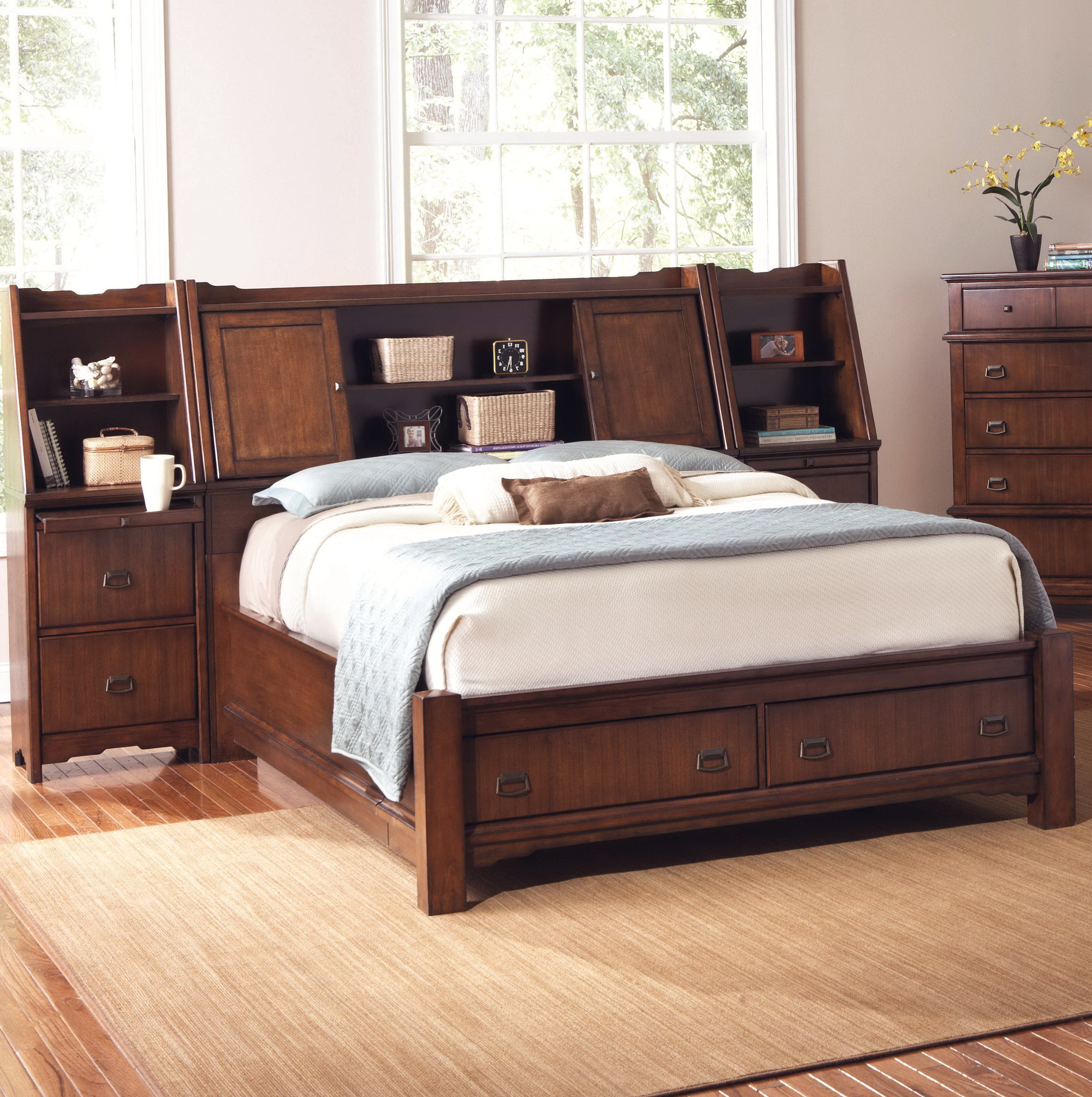Permalink to Queen Bed With Bookshelf Headboard