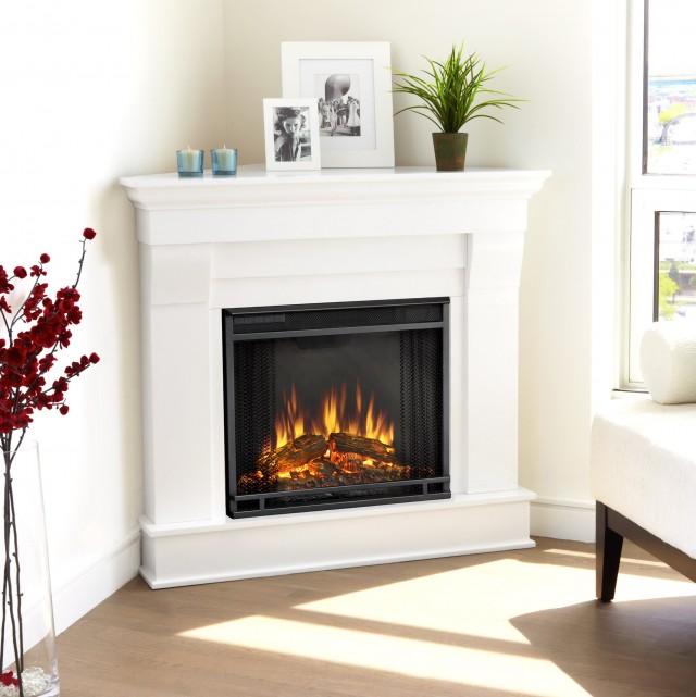 White Corner Gas Fireplace