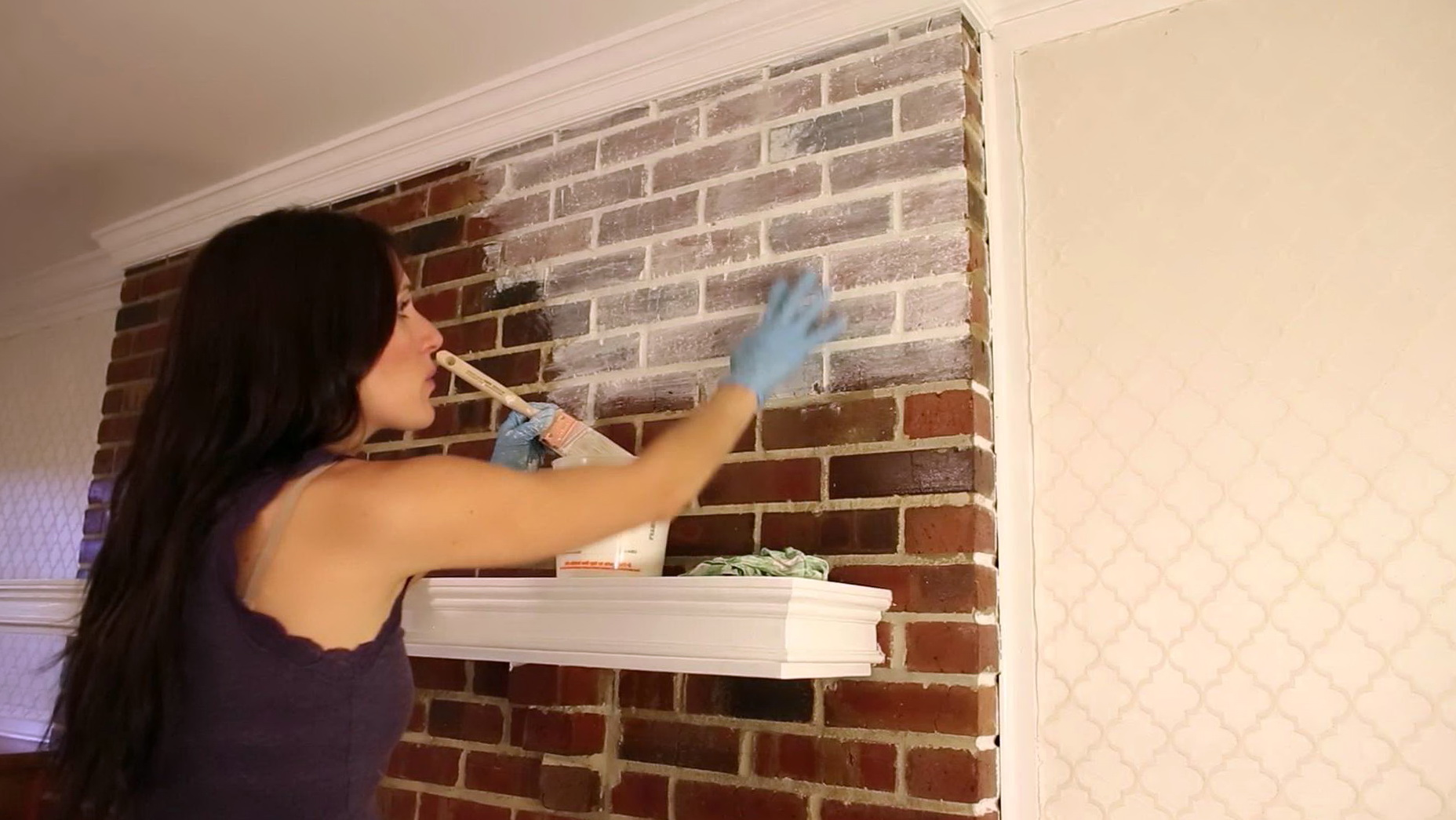 Whitewash Red Brick Fireplace | Home Design Ideas
