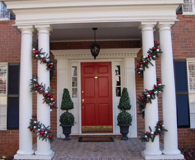 Front Porch Columns Christmas Decoration